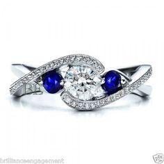 1 CT D-E ROUND MODERN TENSION DIAMOND & BLUE SAPPHIRE MILGRAIN ENGAGEMENT RING