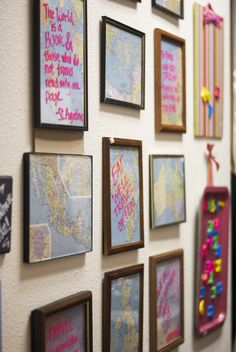 framed maps with travel quotes on them, $5. Austintacious