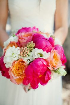 Pink and Coral Peony bouquet for wedding