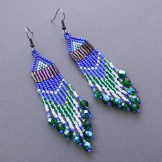 Purple seed bead dangle earrings  beaded jewelry by Anabel27shop,