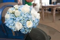 blue and white inspired beach wedding -flower bouquet www.heflinphotography.com