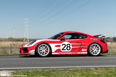 "Is the Cayman GT4 the ultimate track car? Chasen's awesome Porsche Cayman GT4 is the official ""shop car"" at California's SP Motorsports. It's equipped with Cargraphic headers & race exhaust, Cobb ECU calibration, lightweight flywheel & clutch assembly, Guard differential, BBi GT4 roll bar, Recaro seats, Schroth harness, and 19x9/19x10.5 Forgeline one piece forged monoblock GA1R Open Lug wheels finished in Super Wet White! See more at…"