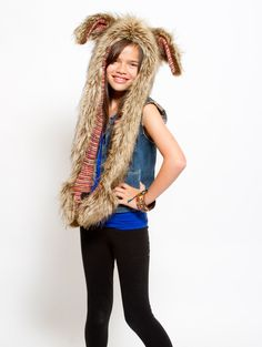 What's Your Spirit Animal? ..... BROWN RABBIT ...................... (Faux Fur, Limited Edition) ........ Traits: Trickster > Humor > Cunning.  Find out more about the #Brown #Rabbit #Spirit #Animal at:  $49 #Gifts #Fashion #SpiritHood #SpiritHoods #Hoodie #FauxFur #Paws #Scarf #Kids #Girls