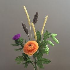 Crepe Paper Fall Bouquet: Ranunculus Thistle Hops by NectarHollow