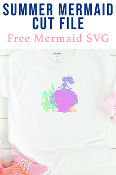 Use this darling Mermaid SVG File from Everyday Party Magazine to make a sweet shirt, bag, or onesie. #mermaid #MermaidCutFile #CutFilesForCricutandSilhouette #FreeCutFiles #Beach