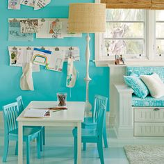 Turquoise Playroom... love this color... but will I ever be brave enough to use it like this?