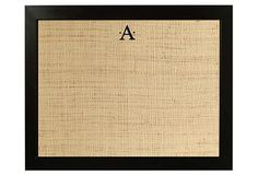 burlap, monogram by Silhouette, under glass, calendar/menu/note board- use a dry erase marker