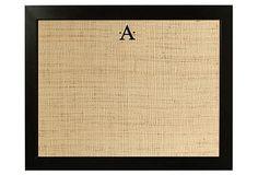 burlap, monogram by Silhouette, under glass, calendar/menu/note board- use a dry erase marker