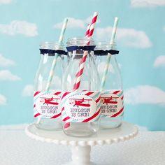 Vintage Airplane Water/Milk Bottle Labels #1st #1st-birthday #airplane