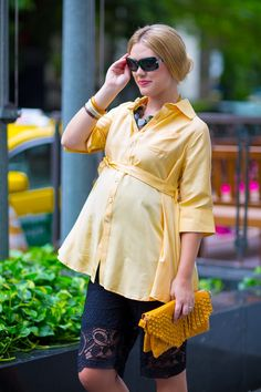 Our Flare shirt in yellow silk covers your baby bump perfectly. Now 10% off especially for Pinterest followers. Enter PINFAN when checking out for your discount!  #maternityclothes #maternitydress #nursingdress http://www.mothermoods.com/