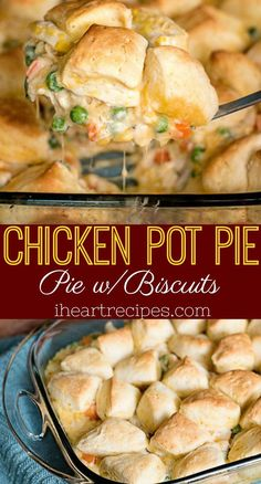 Easy chicken pot pie made with biscuits instead of a traditional crust. This budget meal is definitely a family favorite! I just love a good old fashioned chicken pot pie, especially during the colder Homemade Chicken Pot Pie, Easy Chicken Recipes, Homemade Biscuits, Chicken Ideas, Recipe Chicken, Chicken Pot Pie Recipe With Biscuits, Biscuit Pot Pie, Easy Recipes, Cooking Recipes