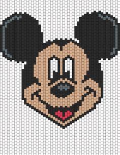 Patrón de bolas de Mickey Mouse | Patrones Peyote bolas | Personajes patrones del grano