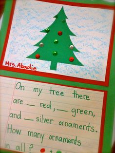 Christmas Tree Math Art Project - could alter for older grades with fractions, and converting them to decimals and percents. Christmas Math, Preschool Christmas, Christmas Themes, Xmas, Christmas Crafts, Christmas Activities, Winter Activities, Kindergarten Activities, Classroom Activities