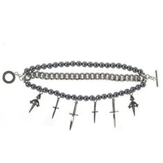 Pearls Chain and Daggers Bracelet by nOir Jewelry