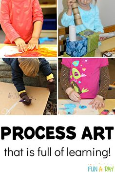 Did you know that with process art, kids are learning: sensory exploration, fine and gross motor skills, literacy, math, science, language, creativity, and more?? Top educators share tips and information about process art, what it is and why it's so important for kids! There's also some great process art projects for preschoolers. Process Art Preschool, Preschool Lesson Plans, Preschool Art, Preschool Teachers, Preschool Learning Activities, Kids Learning Activities, Fun Learning, Toddler Art, Toddler Crafts