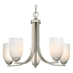 Satin Nickel Chandelier with White Dome Glass Shades and Five Lights