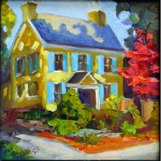 """Daily Paintworks - """"Blue Shutters, McCoy/Cigler Residence, 8x8, oil on board , painting the brandywine Valley, West Ch"""" - Original Fine Art for Sale - © Maryanne Jacobsen"""
