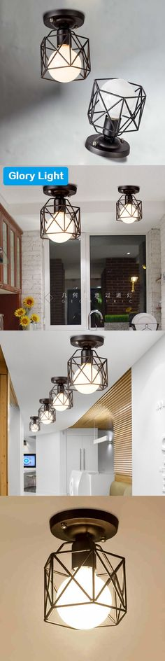 SinFull American Country iron black Cage Ceiling Lights Corridor creative Ceiling Lamp Entrance Balcony Hall lighting lustre