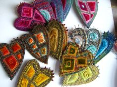 Felt hearts and embroidered limes... Great textures and rich color.
