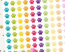 143 Rainbow Pastel Paw Print Planner Stickers / Fits Erin Condren Planner Stickers / Organizing Calendar Stickers