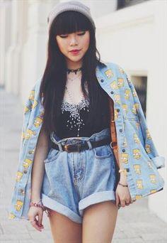 simpson denim shirt from mancphoebe Modern Grunge Fashion, Pastel Goth Fashion, Ted Baker, Urban Look, Simpsons Shirt, Looks Style, My Style, Prada, My Unique Style