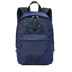 KENZO Small Backpack (730 AED) ❤ liked on Polyvore featuring bags, backpacks, navy blue, blue bag, rucksack bags, kenzo bag, navy blue backpack and zip top bag