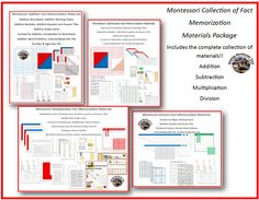 This package includes the entire Fact Memorization Collection. This is a HUGE amount of material!! Visit this post to see the contents of the package! http://makingmontessoriours.blogspot.ca/2014/05/montessori-multiplication-fact.html
