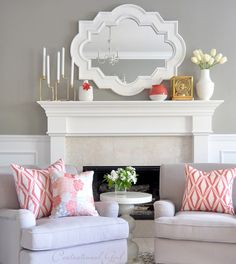 Spring in the Living Room - Coral touches, pretty watercolors, white. A great DIY and home decor site. Design Living Room, Living Room Grey, Home Living Room, Living Room Decor, Cozy Living, Simple Living, Decoration Inspiration, Home And Deco, Living Room Inspiration