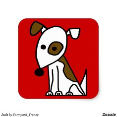 Jack Russell Terrier Square Dog Sticker