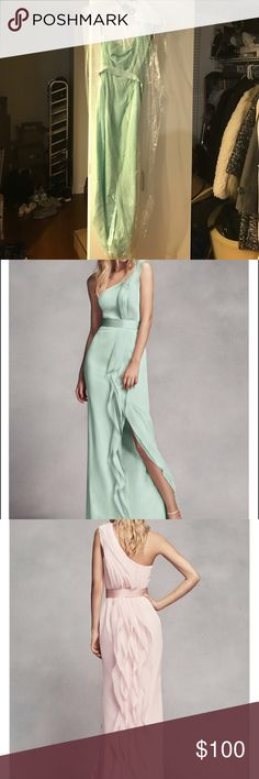 Vera Wang Long One-Shoulder Bridesmaid Dress White by Vera Wang Long One-Shoulder Bridesmaid Dress with Ruffles in Mint color, size 8. This has only been wore once, Im 5'7, and I've altered the dress for my height with 3 inches heel. This is a very pretty mint green color. Vera Wang Dresses One Shoulder