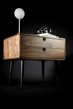 Simple, classic, scandinavian inspired solid American walnut table works as a big nightstand / bedside table also could be used as a little dresser in