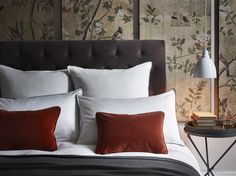 Penelope cushions in #fox #velvet works perfectly in a bedroom neptune.com