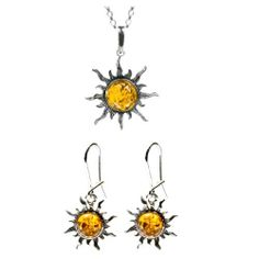 """Baltic Honey Amber and Sterling Silver Flaming Sun Set, 18"""" Ian and Valeri Co.. $50.00. Our designers are constantly pushing the envelope to create unique and modern designs that can be worn every day.. Once you experience the magic of this gemstone you too will understand why from ancient times to present day times it is considered such a treasure.. In ancient times the Greeks referred to amber as """"Electron"""" because it carries electricity through it.  The nat..."""