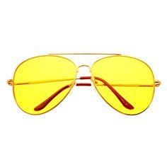 Night Driving Yellow Lens Metal Large Aviator Sunglasses Shades A1320