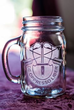Special Forces Custom Etched Mason Jar with handle by TheClassSix