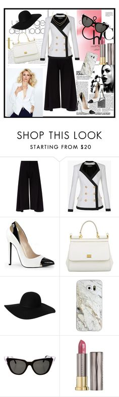 """Black and white"" by lindaking67 ❤ liked on Polyvore featuring Victoria, Victoria Beckham, Balmain, Dolce&Gabbana, Monki, Casetify, Illesteva, Urban Decay and Lana"