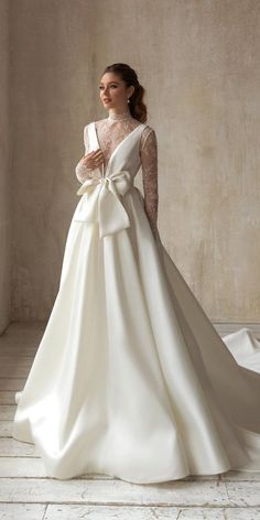 10 Wedding Dress Designers You Want To Know About ❤ wedding dress designers princess with long sleeves lace with bow simple eva lendel #weddingforward #wedding #bride