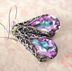 Aqua Pink Earrings Sterling Silver Swarovski Green Purple Crystal Drop Earrings Antique Silver Filigree Earrings
