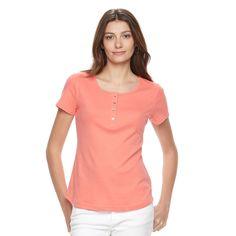 Women's Croft & Barrow® Henley Tee, Size: Medium, Lt Orange