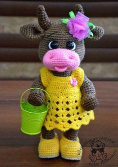 Crochet Fairy, Crochet Cow, Crochet Animal Amigurumi, Amigurumi Doll, Cute Crochet, Crochet Animals, Crochet Applique Patterns Free, Crochet Animal Patterns, Stuffed Animal Patterns