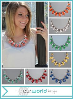 Accentuate any outfit with this stone and crystal flowers necklace! These pieces come in 8 elegant colors: Coral, Mint, Blue, White, Red, Yellow, Orange, and Light Turquoise.