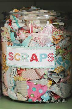 Jar of fabric scraps Colourful Open Sewing Studio