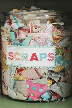 Jar of fabric scraps Colourful Open Sewing Studio