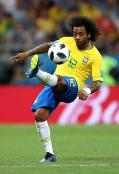 Marcelo of Brazil controls the ball during the 2018 FIFA World Cup Russia group E match between Brazil and Switzerland at Rostov Arena on June 2018 in Rostov-on-Don, Russia. Rostov On Don, Fifa World Cup, Soccer Players, Real Madrid, Brazil, Champion, Europe, Hs Sports, Football Players