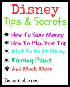 Disney Secrets And Tips: 101 Ideas To Save You Money And Time