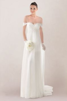 Airy Spaghetti Off-the-shoulder Empire Column Bridal Dress Featuring Beaded Motifs and Lace Applique