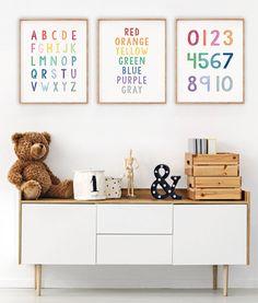 Kids Room Wall Art, Nursery Wall Art, Alphabet Nursery, Nursery Prints, Alphabet And Numbers, Alphabet Letters, Alphabet Wall Art, Playroom Decor, Playroom Ideas