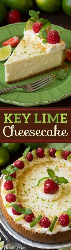 Key Lime Cheesecake - the perfect summer cheesecake! This is TO DIE FOR! Key Lime Cheesecake - the perfect summer cheesecake! This is TO DIE FOR! Summer Cheesecake, Key Lime Cheesecake, Keylime Cheesecake Recipe, Homemade Cheesecake, Easy Cheesecake Recipes, Cheesecake Cupcakes, Raspberry Cheesecake, No Bake Desserts, Just Desserts