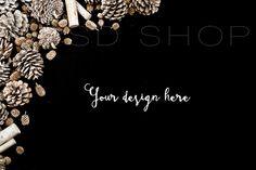 SET of 3 + FREE Cropped Image | Styled stock photography | Mockup | JPG Digital Image | Dark Background with Pinecones | Christmas styled stock images | Autumn styled stock images