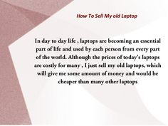 Start recycling your laptop and get cash for your laptops! and buy new technology laptops.!